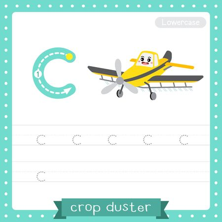 Letter C lowercase cute children colorful transportations ABC alphabet tracing practice worksheet of Crop Duster for kids learning English vocabulary and handwriting Vector Illustration. Çizim