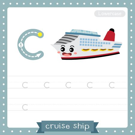 Letter C lowercase cute children colorful transportations ABC alphabet tracing practice worksheet of Cruise Ship for kids learning English vocabulary and handwriting Vector Illustration.