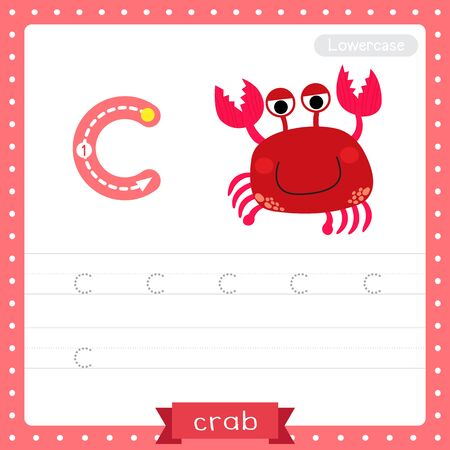 Letter C lowercase cute children colorful zoo and animals ABC alphabet tracing practice worksheet of red Crab for kids learning English vocabulary and handwriting vector illustration. Çizim