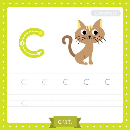 Letter C lowercase cute children colorful zoo and animals ABC alphabet tracing practice worksheet of sitting Cat for kids learning English vocabulary and handwriting vector illustration.