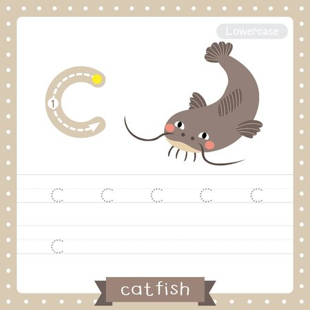 Letter C lowercase cute children colorful zoo and animals ABC alphabet tracing practice worksheet of Funny Catfish for kids learning English vocabulary and handwriting vector illustration. Çizim