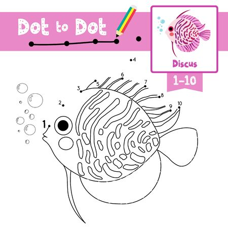 Dot to dot educational game and Coloring book of Discus Fish animals cartoon character for preschool kids activity about learning counting number 1-10 and handwriting practice worksheet. Vector Illustration. Vettoriali