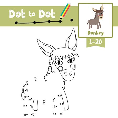 Dot to dot educational game and Coloring book of Donkey animals cartoon character for preschool kids activity about learning counting number 1-20 and handwriting practice worksheet. Vector Illustration.