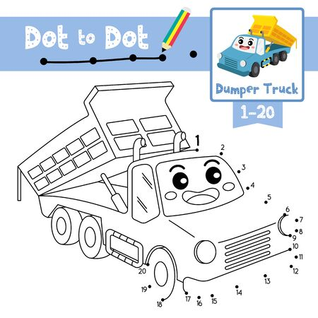 Dot to dot educational game and Coloring book of Dumper Truck cartoon transportations for kids activity about counting number 1-20 and handwriting practice worksheet. Vector Illustration.