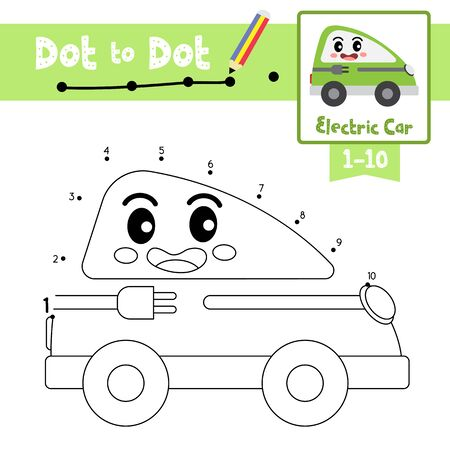 Dot to dot educational game and Coloring book of cute Electric Car cartoon transportations for preschool kids activity about learning counting number 1-10 and handwriting practice worksheet. Vector Illustration.