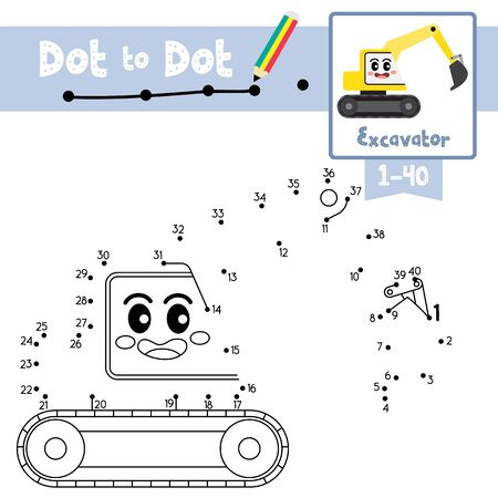 Dot to dot educational game and Coloring book of cute Excavator cartoon transportations for preschool kids activity about learning counting number 1-40 and handwriting practice worksheet. Vector Illustration.