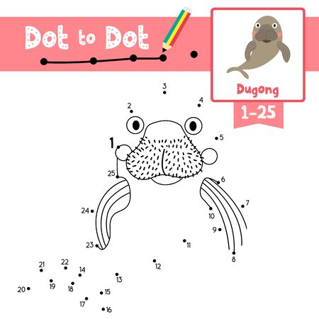 Dot to dot educational game and Coloring book of Happy Dugong animals cartoon character for preschool kids activity about learning counting number 1-25 and handwriting practice worksheet. Vector Illustration.