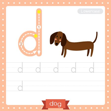 Letter D lowercase cute children colorful zoo and animals ABC alphabet tracing practice worksheet of Standing Dog for kids learning English vocabulary and handwriting vector illustration.