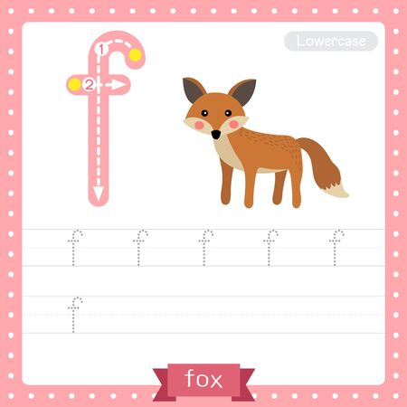Letter F lowercase cute children colorful zoo and animals ABC alphabet tracing practice worksheet of Standing Fox for kids learning English vocabulary and handwriting vector illustration.