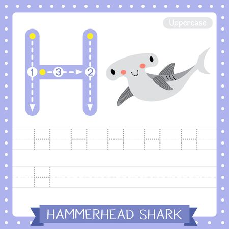Letter H uppercase cute children colorful zoo and animals ABC alphabet tracing practice worksheet of Hammerhead Shark for kids learning English vocabulary and handwriting vector illustration.