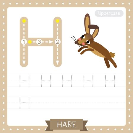 Letter H uppercase cute children colorful zoo and animals ABC alphabet tracing practice worksheet of Jumping Hare for kids learning English vocabulary and handwriting vector illustration. Illustration