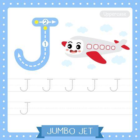 Letter J uppercase cute children colorful transportations ABC alphabet tracing practice worksheet of Jumbo Jet for kids learning English vocabulary and handwriting Vector Illustration. Vektoros illusztráció