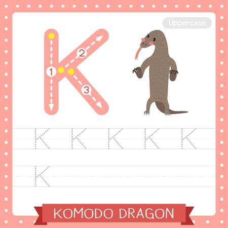 Letter K uppercase cute children colorful zoo and animals ABC alphabet tracing practice worksheet of Komodo dragon standing on two legs for kids learning English vocabulary and handwriting vector illustration. Illusztráció