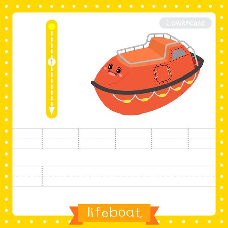 Letter L lowercase cute children colorful transportations ABC alphabet tracing practice worksheet of Lifeboat for kids learning English vocabulary and handwriting Vector Illustration.