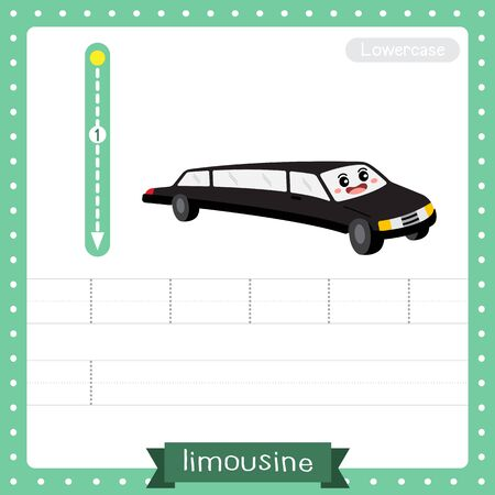 Letter L lowercase cute children colorful transportations ABC alphabet tracing practice worksheet of Limousine for kids learning English vocabulary and handwriting Vector Illustration.