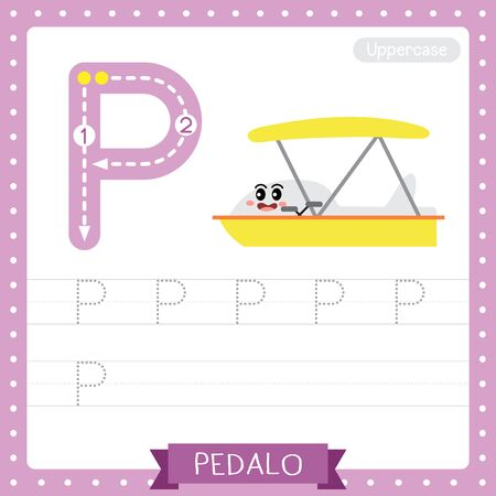 Letter P uppercase cute children colorful transportations ABC alphabet tracing practice worksheet of Pedalo for kids learning English vocabulary and handwriting Vector Illustration.