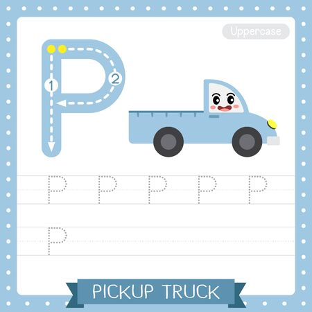 Letter P uppercase cute children colorful transportations ABC alphabet tracing practice worksheet of Pickup Truck for kids learning English vocabulary and handwriting Vector Illustration.