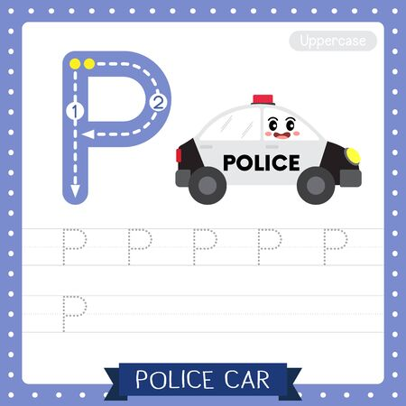 Letter P uppercase cute children colorful transportations ABC alphabet tracing practice worksheet of Police Car for kids learning English vocabulary and handwriting Vector Illustration. Illustration