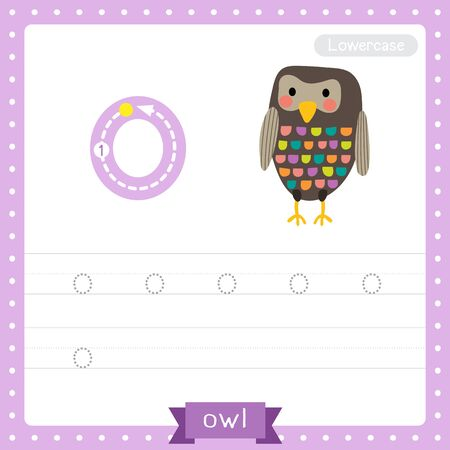 Letter O lowercase cute children colorful zoo and animals ABC alphabet tracing practice worksheet of Standing colorful Owl bird for kids learning English vocabulary and handwriting vector illustration.
