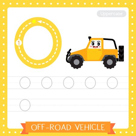 Letter O uppercase cute children colorful transportations ABC alphabet tracing practice worksheet of Off-Road Vehicle for kids learning English vocabulary and handwriting Vector Illustration.