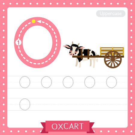 Letter O uppercase cute children colorful transportations ABC alphabet tracing practice worksheet of Oxcart for kids learning English vocabulary and handwriting Vector Illustration.