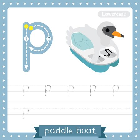 Letter P lowercase cute children colorful transportations ABC alphabet tracing practice worksheet of Paddle Boat for kids learning English vocabulary and handwriting Vector Illustration. Ilustração