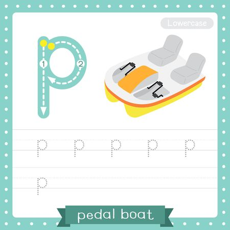 Letter P lowercase cute children colorful transportations ABC alphabet tracing practice worksheet of Pedal Boat for kids learning English vocabulary and handwriting Vector Illustration.