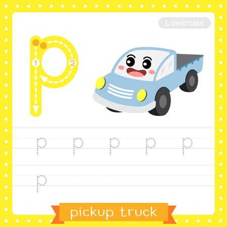 Letter P lowercase cute children colorful transportations ABC alphabet tracing practice worksheet of Pickup Truck for kids learning English vocabulary and handwriting Vector Illustration. Ilustração