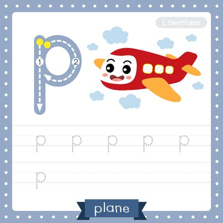 Letter P lowercase cute children colorful transportations ABC alphabet tracing practice worksheet of Plane for kids learning English vocabulary and handwriting Vector Illustration.