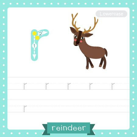 Letter R lowercase cute children colorful zoo and animals ABC alphabet tracing practice worksheet of Standing Reindeer for kids learning English vocabulary and handwriting vector illustration.