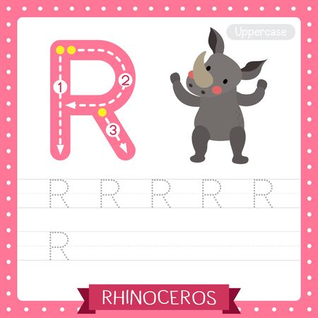 Letter R uppercase cute children colorful zoo and animals ABC alphabet tracing practice worksheet of Rhinoceros standing on two legs for kids learning English vocabulary and handwriting vector illustration.