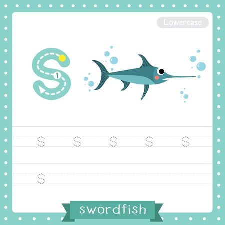 Letter S lowercase cute children colorful zoo and animals ABC alphabet tracing practice worksheet of Swordfish for kids learning English vocabulary and handwriting vector illustration.  イラスト・ベクター素材