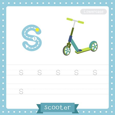 Letter S lowercase cute children colorful transportations ABC alphabet tracing practice worksheet of Scooter for kids learning English vocabulary and handwriting Vector Illustration.