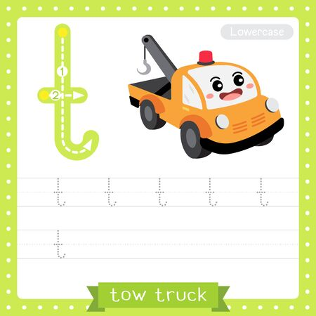 Letter T lowercase cute children colorful transportations ABC alphabet tracing practice worksheet of Tow Truck for kids learning English vocabulary and handwriting Vector Illustration.