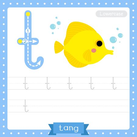 Letter T lowercase cute children colorful zoo and animals ABC alphabet tracing practice worksheet of Yellow Tang fish for kids learning English vocabulary and handwriting vector illustration.