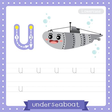 Letter U lowercase cute children colorful transportations ABC alphabet tracing practice worksheet of U-Boat for kids learning English vocabulary and handwriting Vector Illustration. Çizim