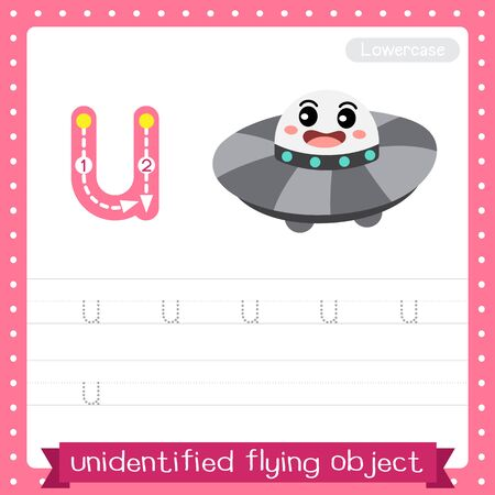 Letter U lowercase cute children colorful transportations ABC alphabet tracing practice worksheet of UFO for kids learning English vocabulary and handwriting Vector Illustration.