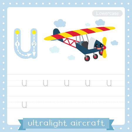 Letter U lowercase cute children colorful transportations ABC alphabet tracing practice worksheet of Ultralight Aircraft for kids learning English vocabulary and handwriting Vector Illustration. Çizim