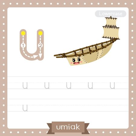 Letter U lowercase cute children colorful transportations ABC alphabet tracing practice worksheet of Umiak for kids learning English vocabulary and handwriting Vector Illustration.