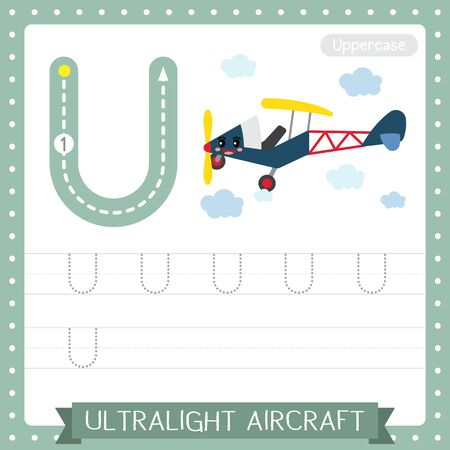 Letter U uppercase cute children colorful transportations ABC alphabet tracing practice worksheet of Ultralight Aircraft for kids learning English vocabulary and handwriting Vector Illustration.