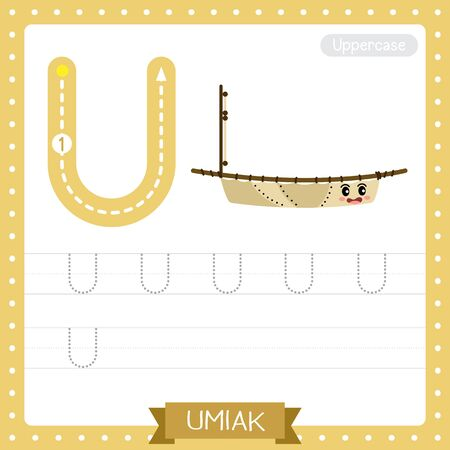 Letter U uppercase cute children colorful transportations ABC alphabet tracing practice worksheet of Umiak for kids learning English vocabulary and handwriting Vector Illustration.