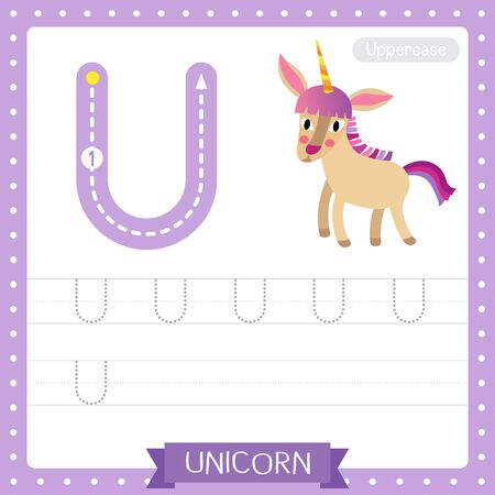 Letter U uppercase cute children colorful zoo and animals ABC alphabet tracing practice worksheet of Unicorn for kids learning English vocabulary and handwriting vector illustration.