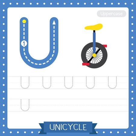 Letter U uppercase cute children colorful transportations ABC alphabet tracing practice worksheet of Unicycle for kids learning English vocabulary and handwriting Vector Illustration.