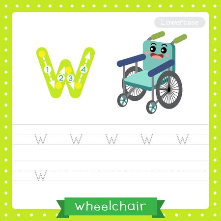 Letter W lowercase cute children colorful transportations ABC alphabet tracing practice worksheet of Wheelchair for kids learning English vocabulary and handwriting Vector Illustration.