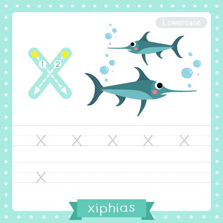 Letter X lowercase cute children colorful zoo and animals ABC alphabet tracing practice worksheet of Xiphias (Swordfish) for kids learning English vocabulary and handwriting vector illustration.