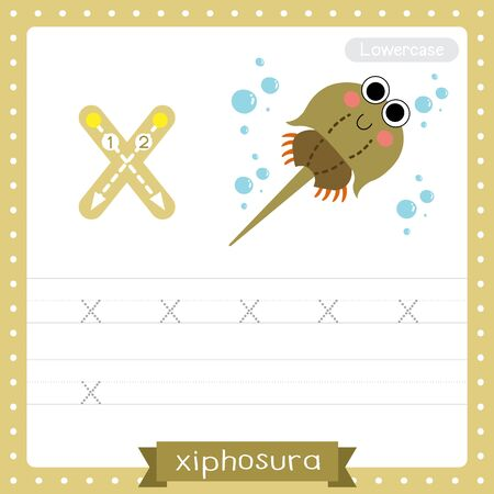 Letter X lowercase cute children colorful zoo and animals ABC alphabet tracing practice worksheet of Xiphosura for kids learning English vocabulary and handwriting vector illustration. Çizim