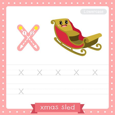 Letter X lowercase cute children colorful transportations ABC alphabet tracing practice worksheet of Xmas Sled for kids learning English vocabulary and handwriting Vector Illustration. Çizim