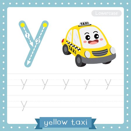 Letter Y lowercase cute children colorful transportations ABC alphabet tracing practice worksheet of Yellow Taxi for kids learning English vocabulary and handwriting Vector Illustration.