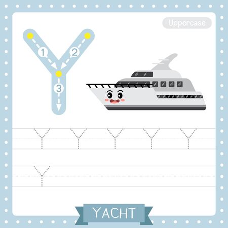 Letter Y uppercase cute children colorful transportations ABC alphabet tracing practice worksheet of Yacht for kids learning English vocabulary and handwriting Vector Illustration. Çizim