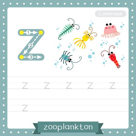 Letter Z lowercase cute children colorful zoo and animals ABC alphabet tracing practice worksheet of Zooplankton for kids learning English vocabulary and handwriting vector illustration.